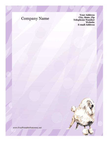 Poodle stationery design