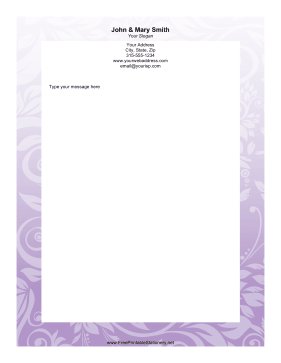 Purple Floral stationery design
