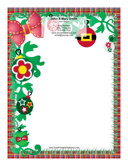Red Bow Plaid Border stationery design