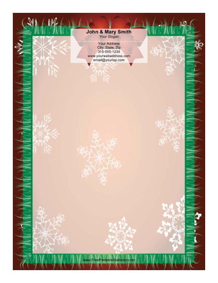 Red Bow with Snowflakes stationery design