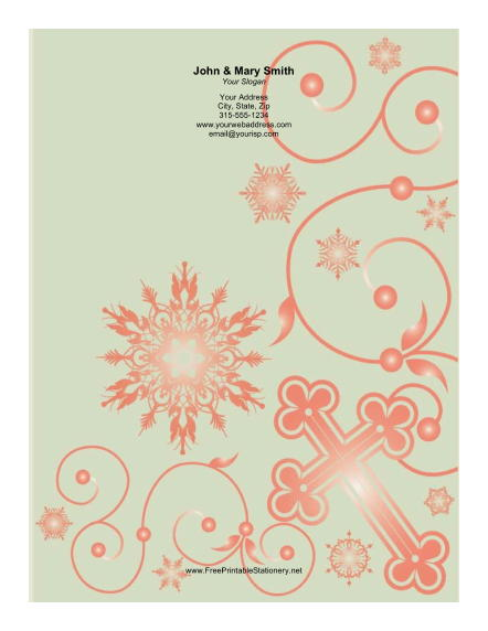 Red Cross Ornate Background stationery design