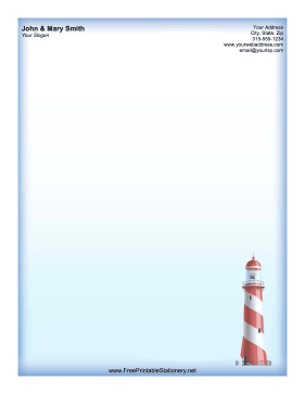 Red Lighthouse stationery design