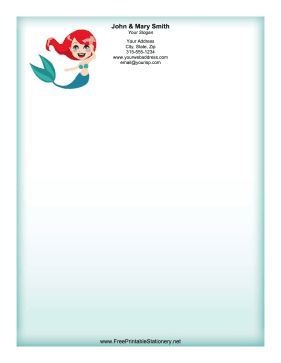 Redhead Mermaid stationery design