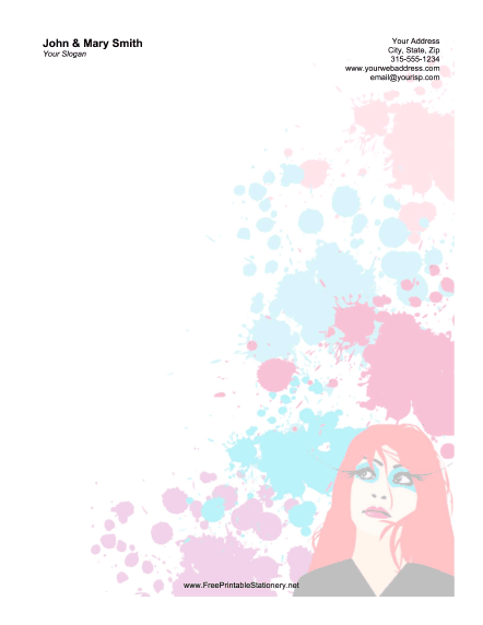 Redhead Woman stationery design