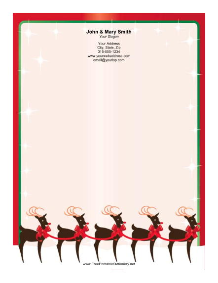 Reindeer with Bows stationery design