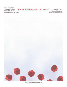 Remembrance Day Stationery stationery design