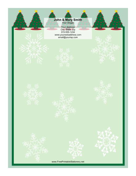 Row of Christmas Trees stationery design
