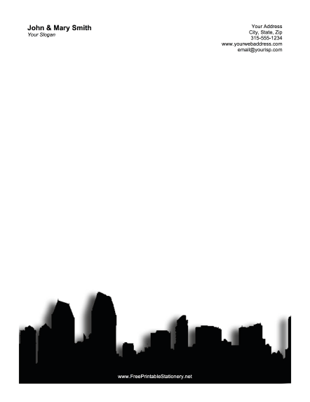 San Diego Skyline Gray stationery design