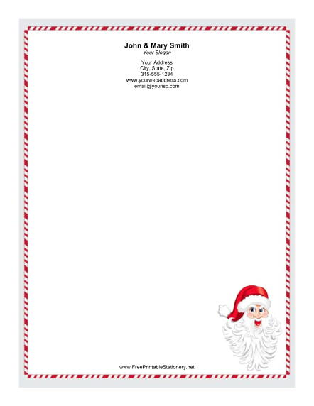 Santa Claus Candy Cane Border stationery design