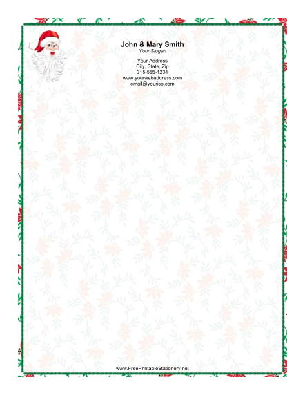 Santa Claus Holiday Border stationery design