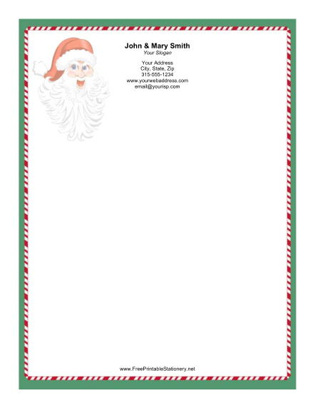 Santa Claus Red White Green Candy Cane Border stationery design