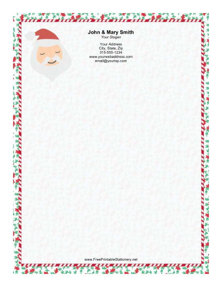 Santa Portrait Greenery Border stationery design