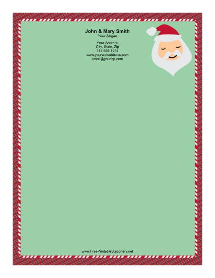 Santa Portrait Plaid Border stationery design