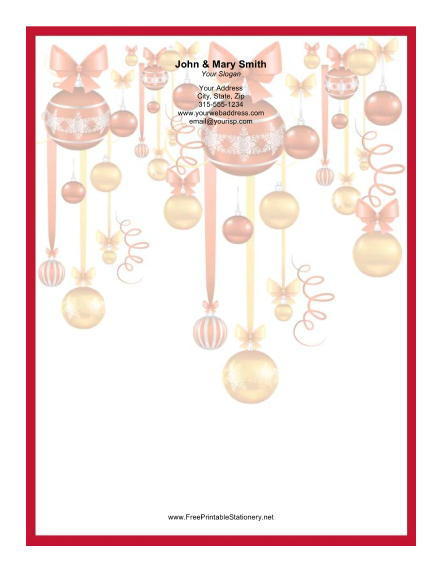 Several Colorful Ornaments Red Border stationery design