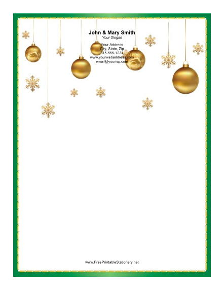 Several Gold Ornaments stationery design