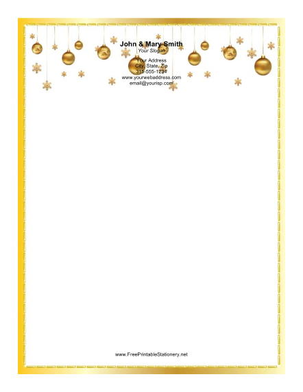Several Golden Ornaments stationery design