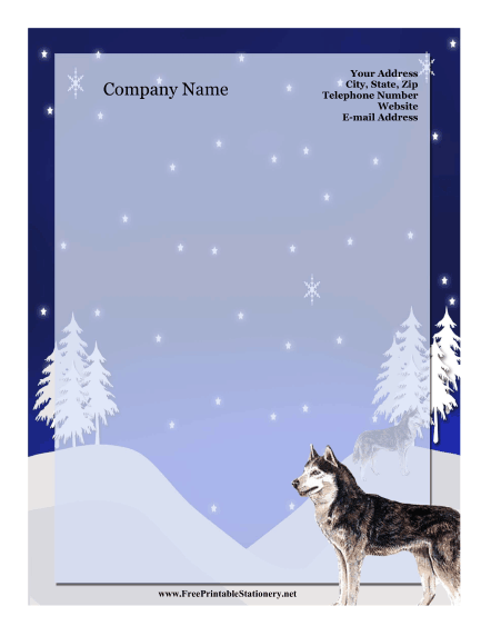 Siberian Husky stationery design