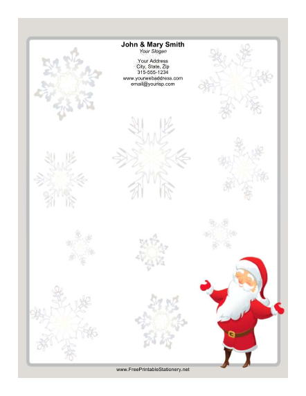 Smiling Santa Gray Border stationery design