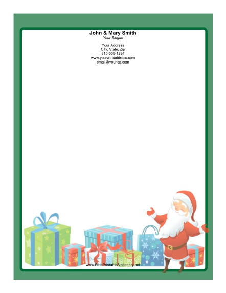 Smiling Santa Green Border stationery design