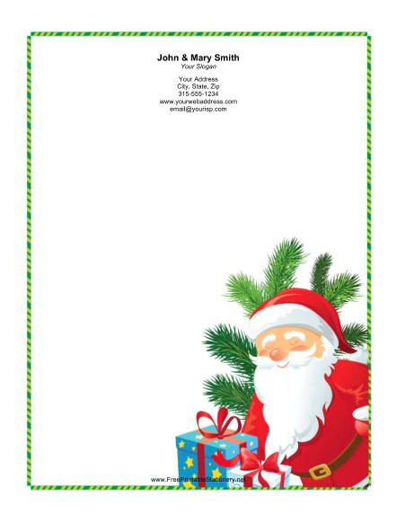 Smiling Santa Green Candy Cane Border stationery design