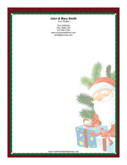 Smiling Santa Green Red Black Border stationery design
