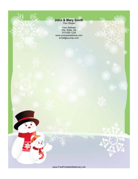 Snowmen in Hats stationery design