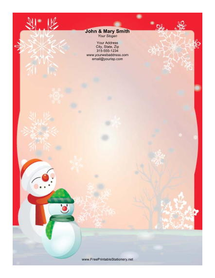 Snowmen in Stocking Caps stationery design