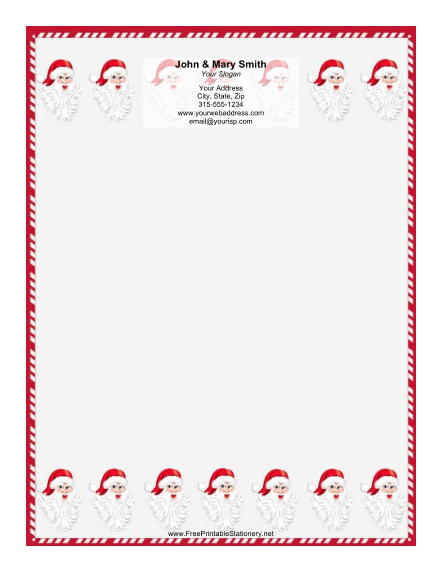 String of Santas Candy Cane Border stationery design