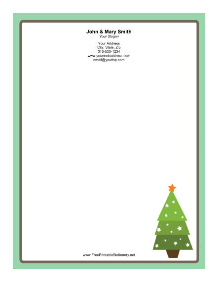 Stylized Christmas Tree stationery design