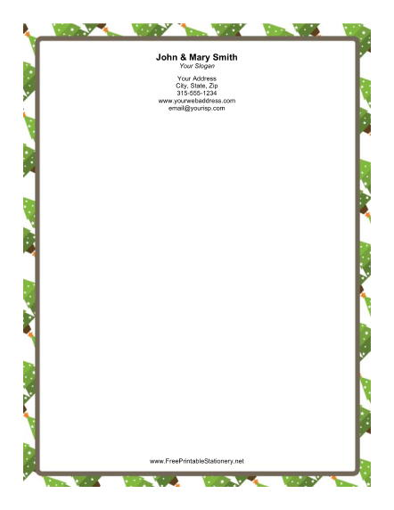 Stylized Christmas Tree with Stars stationery design