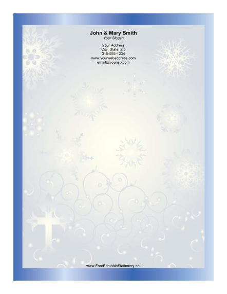 Stylized Cross Blue Border stationery design