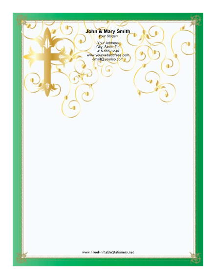 Stylized Cross Green Border stationery design