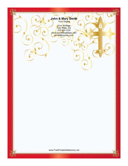 Stylized Cross Red Border stationery design