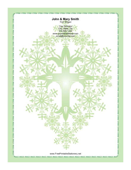 Stylized Green Cross stationery design