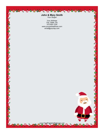 Stylized Santa stationery design