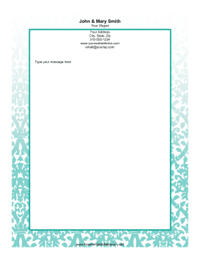 Teal Vine stationery design