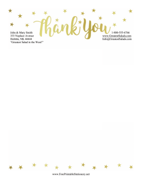 Thank You Stationery Stars stationery design