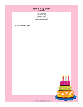 Three-Tier Cake stationery design