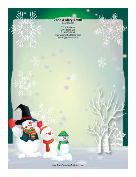 Three Large Snowmen stationery design
