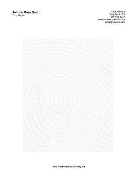 Thumb Print stationery design