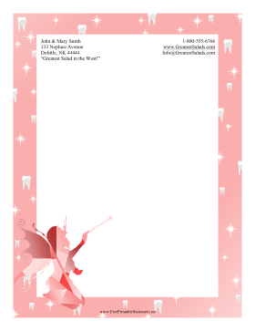 Tooth Fairy Stationery stationery design