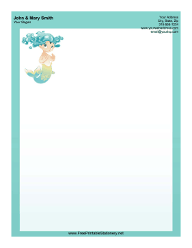Turquoise Mermaid stationery design