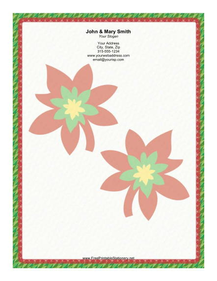 Two Large Poinsettias stationery design