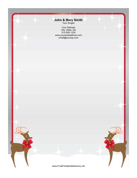 Two Reindeer stationery design