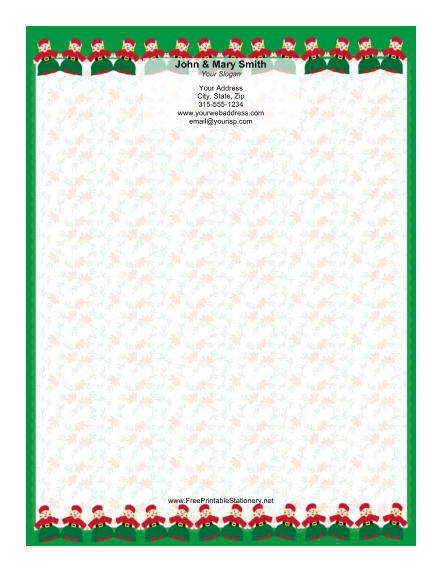 Two Rows of Elves Green Border stationery design