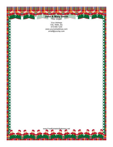 Two Rows of Elves Plaid Border stationery design