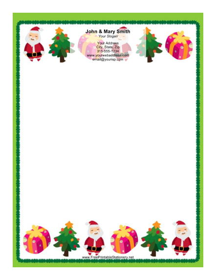 Two Rows of Santas stationery design