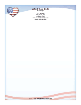 USA Heart stationery design