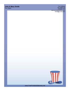 Uncle Sam Hat USA stationery design