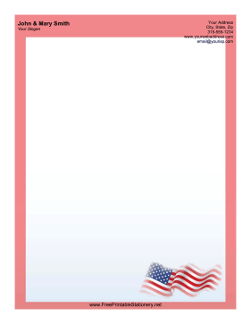 Waving US Flag stationery design